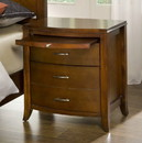 Benzara BM187656 Wooden Nightstand with Three Drawers and One Pull Out Tray, Brown