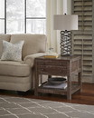Benzara BM187684 Solid Wood End Table with One Drawer and One Shelf, Brown