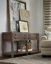 Benzara BM187851 Wooden Two Drawer Console Table with Bottom Shelf, Brown
