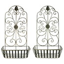 Benzara BM187855 Metal WallDecor With Intricate Design and Wired Basket, Assortment of Two , Gray