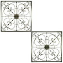 Benzara BM187860 Iron WallDecor with Flower Accent and Squared Framed Design, Assortment of Two, Bronze