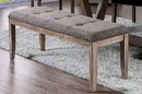 Benzara BM188360 Rectangular Shaped Solid Wood and Fabric Upholstered Bench with Nail head Trims , Brown and Gray