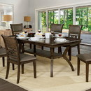 Benzara BM188386 Transitional Style Solid Wood Rectangular Dining Table with Flowing Leg Base Design , Brown