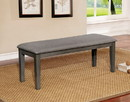 Benzara BM188396 Transitional Style Solid Wood Bench with Faux Leather Upholstery and Tapered Legs , Gray