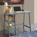 Benzara BM190075 Distressed Wooden Desk with Two Display Shelves and Trestle Base, Small, Teal Blue