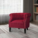 Benzara BM190175 Transitional Polyester Upholstered Button Tufted Accent Chair with Nail Head Trim, Red