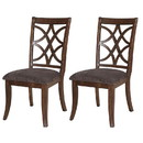 Benjara BM191383 Wooden Side Chair with Cutout Backrest and Fabric Seat, Set of 2, Brown