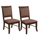 Benjara BM191387 Wooden Side Chair with Fabric Upholstered Seat and Back, Brown, Set of Two