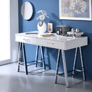 Benzara BM191427 Rectangular Two Drawers Wooden Desk with Saw horse Metal Legs, Silver and White