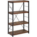 Benjara BM191429 Four Tiered Metal Framed Wooden Bookshelf, Weathered Oak Brown and Black