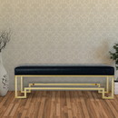 Benzara BM191655 Rectangular Faux Leather Upholstered Bench with Stainless Steel Base, Black and Gold