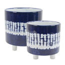 Benzara BM191713 Contemporary Ceramic Footed Planters with Cylindrical Shape, Blue, Set of Two