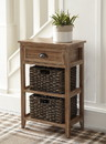 Benzara BM193781 Cottage Style Wooden Accent Table with Two Woven Storage Baskets, Brown