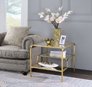 Benzara BM193831 Metal Framed Mirror End Table with Tiered Shelves, Gold and Clear
