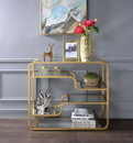 Benzara BM193832 Metal Framed Mirror Sofa Table with Tiered Shelves, Gold and Clear