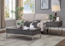 Benzara BM193840 Wooden Coffee Table with Two Lift Tops and Metal Sled Leg Support, Gray and Silver