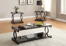 Benzara BM193844 Metal and Glass Coffee Table Set with Two End Tables, Black
