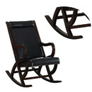 Benzara BM193886 Faux Leather Upholstered Wooden Rocking Chair with Looped Arms, Brown