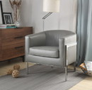 Benzara BM193889 Faux Leather Upholstered Wooden Accent Chair with Metal Legs, Gray and Silver