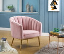 Benzara BM193892 Metal and Fabric Accent Chair with Channel Tufting, Pink and Gold