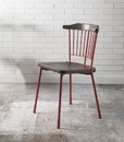 Benzara BM193908 Wood and Metal Side Chairs with Slat Style Back, Red and Brown, Set of Two