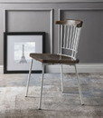 Benzara BM193909 Wood and Metal Side Chairs with Slat Style Back, White and Brown, Set of Two