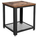 Benzara BM193916 Metal Frame End Table with Wooden Top and Wide Mesh Bottom Shelf, Brown and Black
