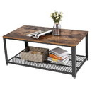 Benzara BM193917 Metal Frame Coffee Table with Wooden Top and Mesh Bottom Shelf, Brown and Black