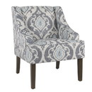 Benzara BM193999 Fabric Upholstered Wooden Accent Chair with Swooping Armrests and Damask Pattern Design, Multicolor