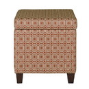Benzara BM194107 Geometric Patterned Square Wooden Ottoman with Lift Off Lid Storage, Orange and Cream
