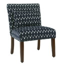 Benzara BM194144 Fabric Upholstered Wooden Accent Chair with Medallion Pattern, Multicolor
