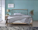 Benzara BM194247 Industrial Metal Queen Bed with Tapered Legs and Slated Headboard, Copper