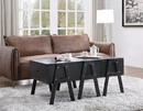Benzara BM194264 Three Drawers Wooden Convertible Coffee Table with Angled Legs, Black