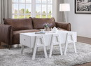 Benzara BM194265 Three Drawers Wooden Convertible Coffee Table with Angled Legs, White