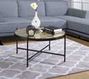 Benzara BM194266 Metal Framed Round Coffee Table with X