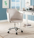 Benzara BM194305 Velvet Upholstered Swivel Office Chair with Adjustable Height and Metal Base, Beige and Silver
