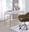 Benzara BM194312 Two Drawers Wooden Desk with Tubular Metal Base, White and Gold