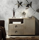 Benzara BM194315 Spacious Wooden Cabinet with Aluminum Patchwork and Castors, Gold