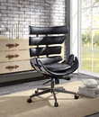 Benzara BM194316 Metal Framed Wingback Office Chair with Leatherette Upholstered Horizontal Panels, Black and Gray