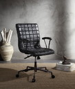 Benzara BM194319 Metal Framed Leatherette Office Chair with Padded Armrests and Adjustable Height, Black and Gray