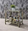 Benzara BM194344 Two Tiered Metal Serving Cart with Glass Shelves and Side Rails, Antique Gold