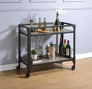 Benzara BM194349 2 Tier Metal Serving Cart with Wooden Shelves and Bottle Holders, Black