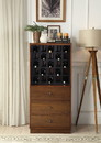 Benzara BM194371 Wooden Wine Cabinet with Wine Bottle Rack and Three Drawers, Brown and Black