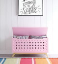 Benzara BM194377 Wooden Lift Top Storage Chest with Geometric Design, Pink and Brown