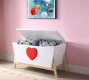 Benzara BM194380 Tapered Wooden Youth Chest with Angled Legs Support and Heart Sign, White and Red