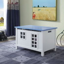 Benzara BM194382 Wooden Youth Chest with Lift Top Storage and Cutout Design, Blue and White