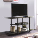 Benzara BM194848 Wooden TV Stand With Tubular Plastic Legs and Two Shelves, Black
