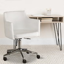 Benzara BM194853 Faux Leather Upholster Metal Swivel Chair with Low Profile Back, White and Silver