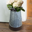 Benjara BM195135 Galvanized Metal Corrugated Flower Vase with Curved Side Handles, Gray and Brown
