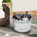 Benjara BM195211 Round Galvanized Steel Tub with Side Handles and Embossed Design, Silver